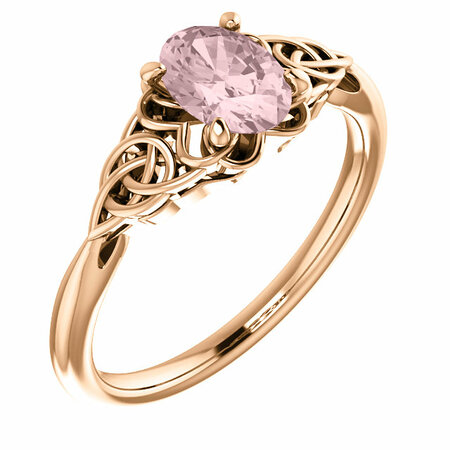 14 Karat Rose Gold Morganite Celtic-Inspired Ring