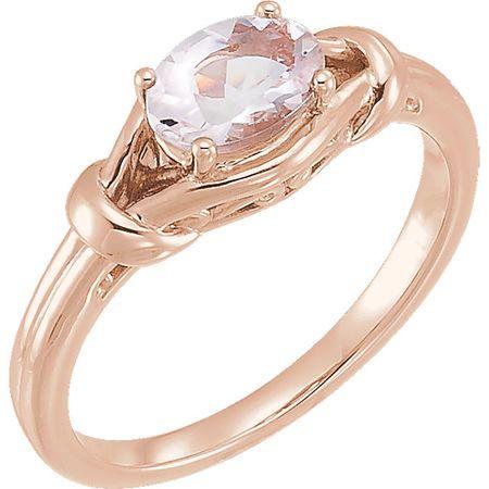 Genuine  14 Karat Rose Gold Morganite Knot Ring