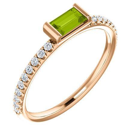 Buy 14 Karat Rose Gold Peridot & 0.17 Carat Diamond Stackable Ring