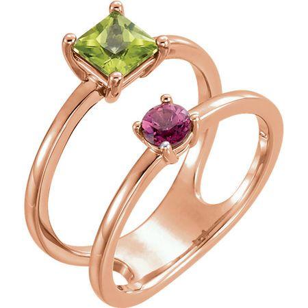 14 Karat Rose Gold Peridot & Pink Tourmaline Two-Stone Ring
