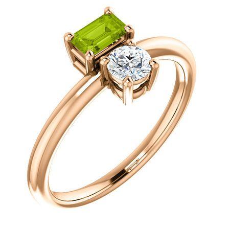 Genuine 14 Karat Rose Gold Gold Peridot & Sapphire Two-Stone Ring