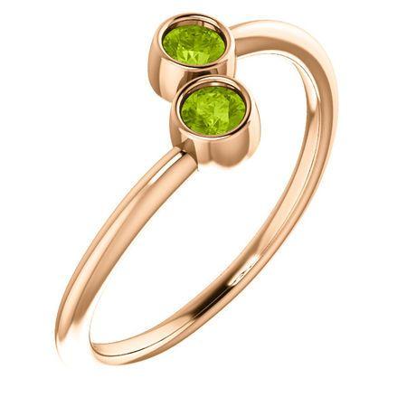 14 Karat Rose Gold Peridot Two-Stone Ring