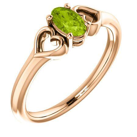 Shop 14 Karat Rose Gold Peridot Youth Heart Ring