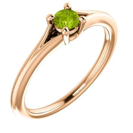 14 Karat Rose Gold Peridot Youth Ring