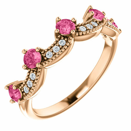Buy 14 Karat Rose Gold Pink Tourmaline & .06 Carat Diamond Crown Ring