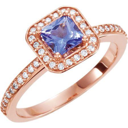 Genuine Tanzanite Ring in 14 Karat Rose Gold 5x5mm Square 0.20 Carat Diamond Semi-Set Engagement Ring