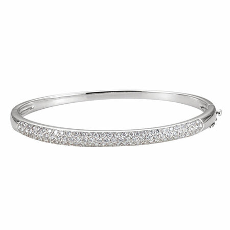 White Diamond Bracelet in 14 Karat White Gold 1 1/2 Carat Diamond Bangle 6