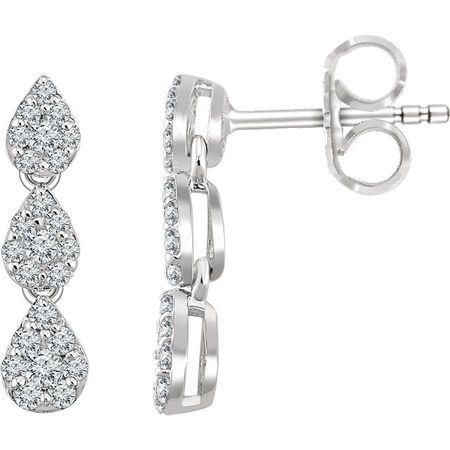 White Diamond Earrings in 14 Karat White Gold 0.50 Carat Diamond Cluster Dangle Earrings