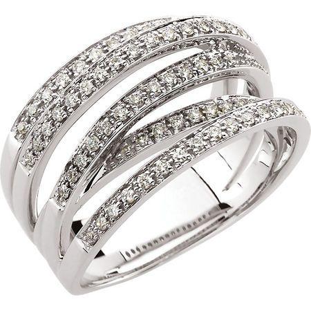 Diamond Ring in 14 Karat White Gold.5 Carat Diamond Criss-Cross Ring Size 5.5