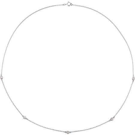 Genuine Diamond Necklace in 14 Karat Genuine Gold 0.25 Carat Diamond Bezel 18