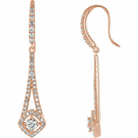 White Diamond Earrings in 14 Karat White Gold 3/4 Carat Diamond Chandelier Earrings