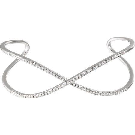 Genuine 14 Karat White Gold 0.75 Carat Diamond Criss-Cross Cuff 7