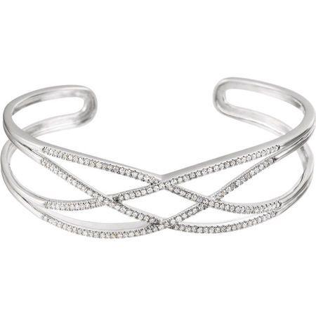 14 Karat White Gold 0.75 Carat Diamond Criss-Cross Cuff 7