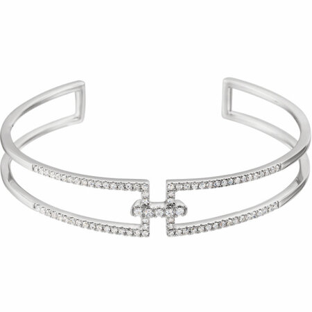 14 Karat White Gold 0.75 Carat Diamond Cuff 6