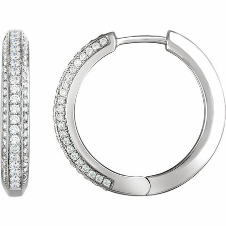 White Diamond Earrings in 14 Karat White Gold 0.75 Carat Diamond Hoop Earrings