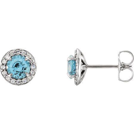 14 Karat White Gold 3.5mm Round Zircon & 0.17 Carat Diamond Halo-Style Earrings