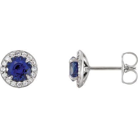 14 Karat White Gold 4.5mm Round Genuine Chatham Blue Sapphire & 0.17 Carat Diamond Earrings