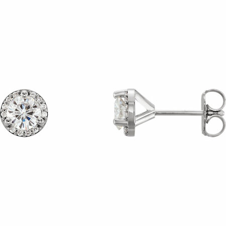 14 Karat White Gold 4.5mm Round Genuine Charles Colvard Forever One Moissanite & .07 Carat Diamond Earrings