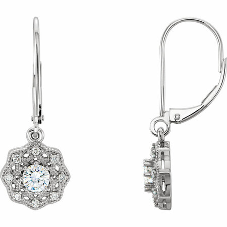 14 Karat White Gold 4mm Round Genuine Charles Colvard Forever One Moissanite & 0.12 Carat Diamond Earrings