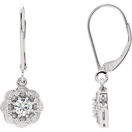 14 Karat White Gold 4mm Round Genuine Charles Colvard Forever One Moissanite & 0.12 Carat Diamond Earrings