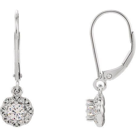 Shop 14 Karat White Gold 4mm Round Genuine Charles Colvard Forever One Moissanite & 0.12 Carat Diamond Earrings