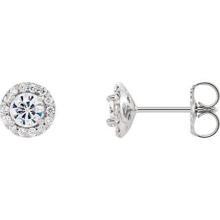14 Karat White Gold 4mm Round Genuine Charles Colvard Forever One Moissanite and 0.12 Carat Diamond Earrings