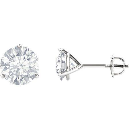 Shop 14 Karat White Gold 4mm Round Genuine Charles Colvard Forever One Moissanite Earrings