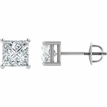 14 Karat White Gold 5.5mm Square Genuine Charles Colvard Forever One Moissanite Earrings