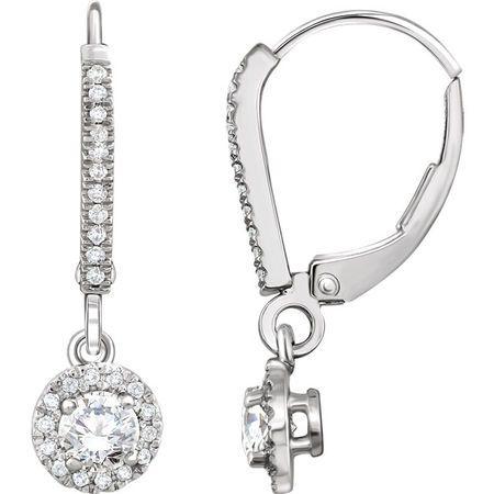 White Diamond Earrings in 14 Karat White Gold 0.60 Carat Diamond Halo-Style Lever Back Earrings