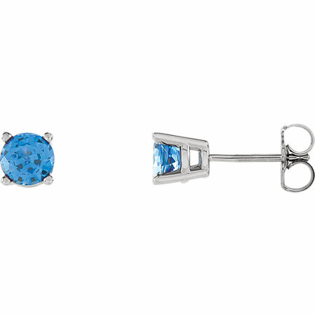14 Karat White Gold 5mm Round Genuine Chatham Blue Sapphire Post Stud Earrings