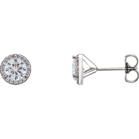 14 Karat White Gold 5mm Round Genuine Charles Colvard Forever One Moissanite & 0.10 Carat Diamond Earrings