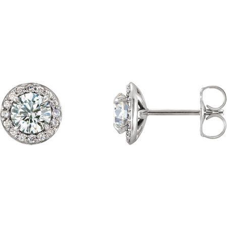 14 Karat White Gold 5mm Round Genuine Charles Colvard Forever One Moissanite & 0.12 Carat Diamond Earrings