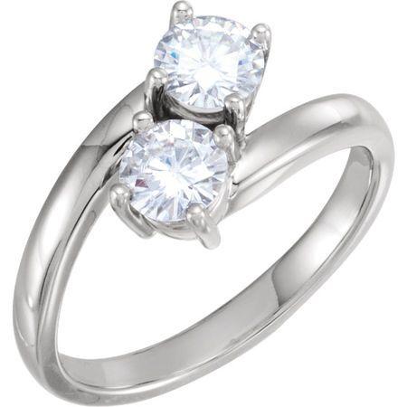 14 Karat White Gold 5mm Round Genuine Charles Colvard Forever One Moissanite Ring