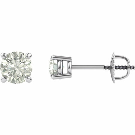 14 Karat White Gold 6.5mm Round Genuine Charles Colvard Forever One Moissanite Earrings