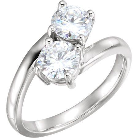 Buy 14 Karat White Gold 6.5mm Round Genuine Charles Colvard Forever One Moissanite Ring