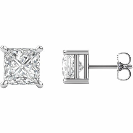 14 Karat White Gold 6.5mm Square Genuine Charles Colvard Forever One Moissanite Earrings