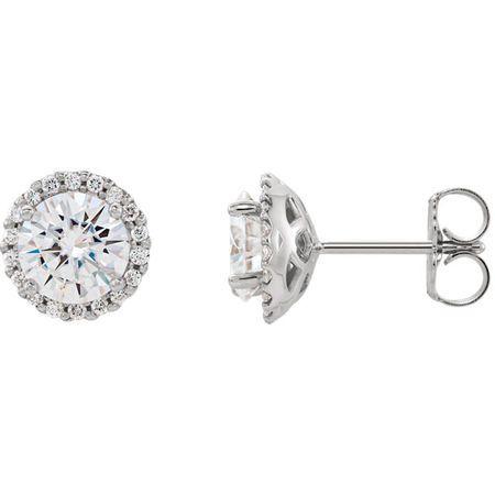 14 Karat White Gold 6mm Round Genuine Charles Colvard Forever One Moissanite and 0.12 Carat Diamond Earrings