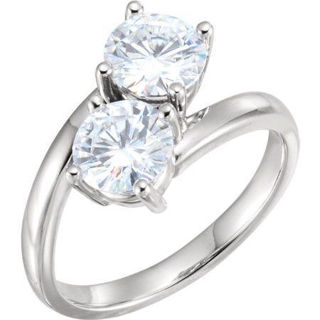 Shop 14 Karat White Gold 6mm Round Genuine Charles Colvard Forever One Moissanite Ring