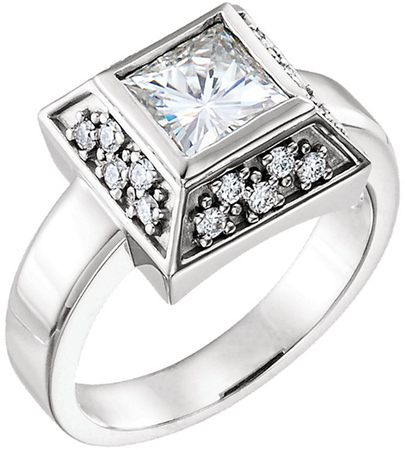14 KT White Gold 6mm Square Charles & Colvard Moissanite and 1/3 Carat TW Diamond Accented Ring