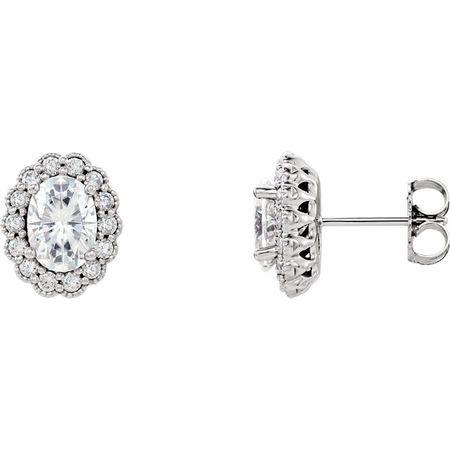 Buy 14 Karat White Gold 7x5 Oval Genuine Charles Colvard Forever One Moissanite & 0.40 Carat Diamond Earrings