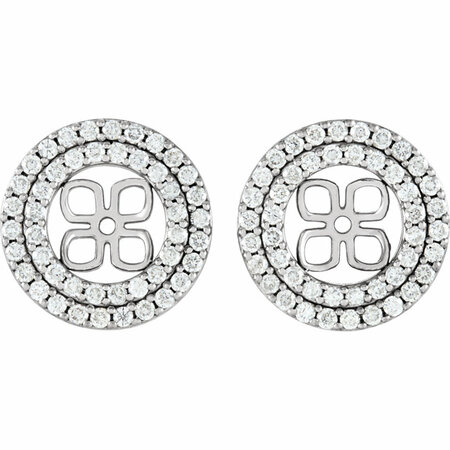 White Diamond Earrings in 14 Karat White Gold 0.90 Carat Diamond Earring Jackets for 8mm Pearl