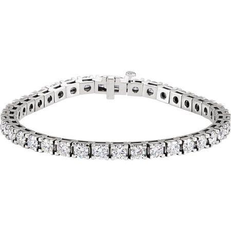 Genuine  14 Karat White Gold 9 0.33 Carat Diamond Line 7.25