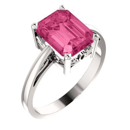 Pink Tourmaline Ring in Amazing 14 Karat White Gold 9x7mm Scroll Setting Ring Mounting