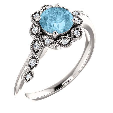 Genuine Aquamarine Ring in 14 Karat White Gold Aquamarine & .07 Carat Diamond Ring
