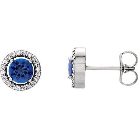 Genuine Sapphire Earrings in 14 Karat White Gold Round Genuine Sapphire & 1/10 Carat Diamond Earrings