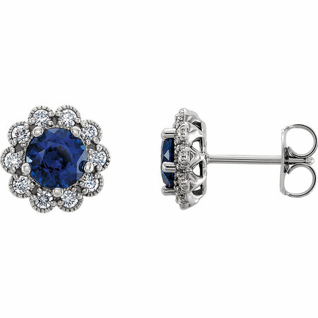 Buy 14 Karat White Gold Blue Sapphire & 0.33 Carat Diamond Earrings