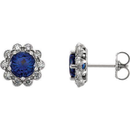 14 Karat White Gold Blue Sapphire & 0.33 Carat Diamond Earrings