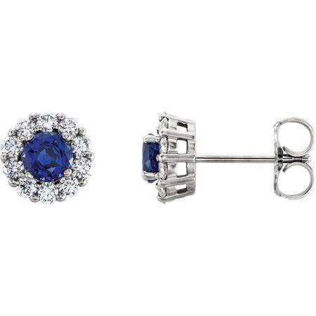14 Karat White Gold Genuine Chatham Blue Sapphire & 0.40 Carat Diamond Halo-Style Earrings