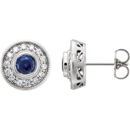 Genuine 14 Karat White Gold 5mm Round 0.25 Carat Diamond Semi-Set Halo-Style Earrings
