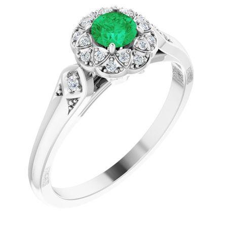 Genuine Emerald Ring in 14 Karat White Gold Emerald & 0.10 Carat Diamond Ring